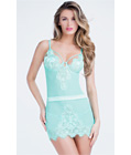Eyelash Lace Chemise And G-string Blue