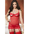 Open Cup Chemise Set Red