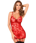 Floral Lace Garter Chemise Red