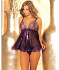 Embroidery Lace Cup Babydoll Purple