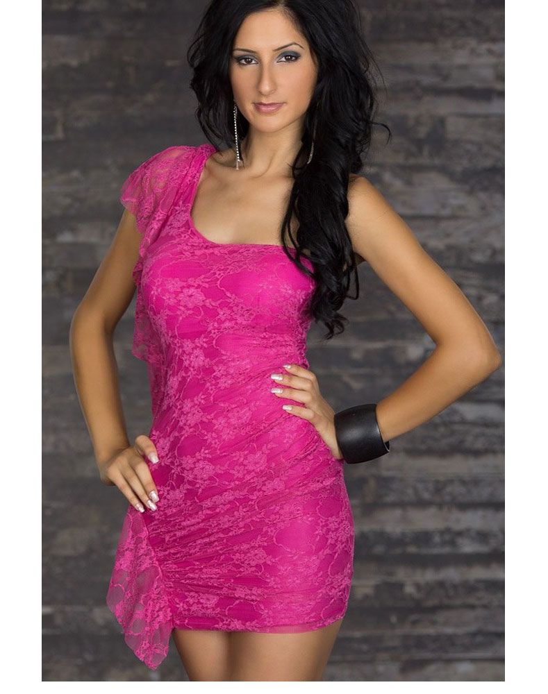 Lace Mini Clubwear Dress Pink