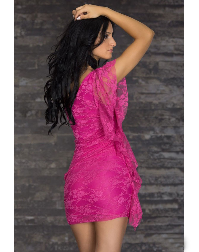 Lace Mini Clubwear Dress Red