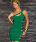 Sexy Cut Out Sides Clubwear Green