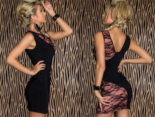 Black & Pink Lace Splice Dress