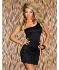 Black One Shoulder Lace Club Dress