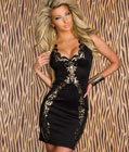 Exotic Gold Foil Design Fashion Dress