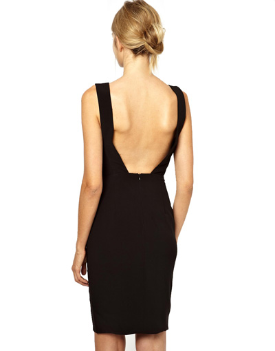 Backless Pencil Dress with Deep V Neck