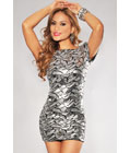 Backless Sequins Dress Silver
