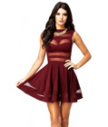 Red Mesh Panel Mini Dress