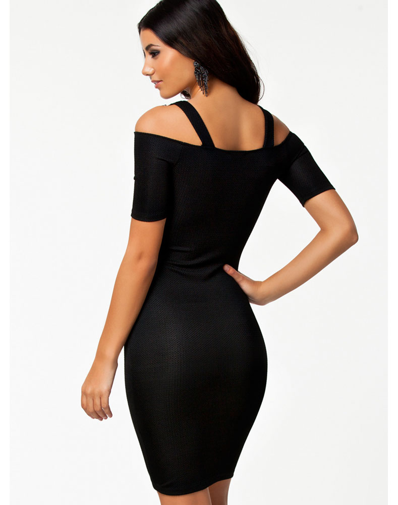 Black Lace Crochet Bodycon Dress