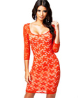 Orange Crochet Illusion Midi Dress