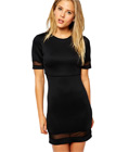 Sheer & Solid Crop Top Bodycon Dress Black