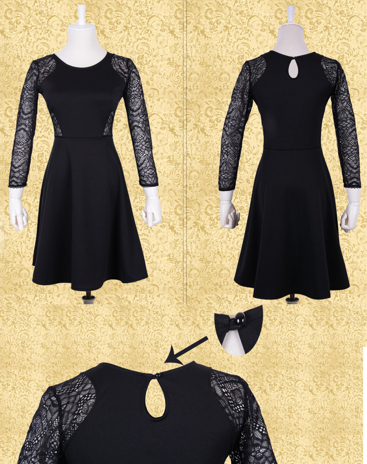 Black Contrast Lace Hollow Dress