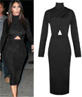 Celebrity Long Sleeve Bodycon Dress Black