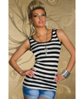 Pinstripes Top with Embroidered Lace Blue
