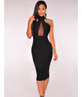 Mock Neck Sheer Peep Hole Dress Black