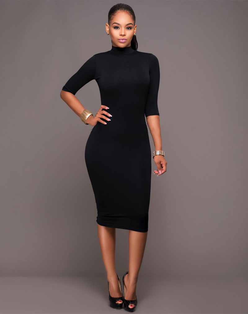 Sheath Knee-Length Club Dress Black