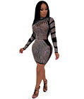 Mesh Rhinestone Long Sleeves Dress