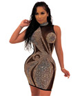 Mesh Rhinestone High Neck Dress