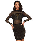 Mesh Rhinestone Bodycon Dress
