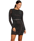 Rhinestone Long Sleeves Dress Black