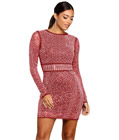 Rhinestone Long Sleeves Dress Red