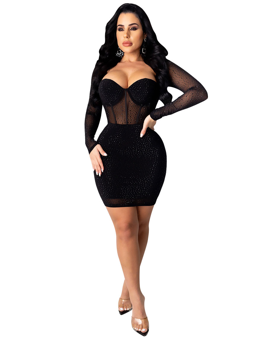 Starlight Mesh Rhinestone Dress Black