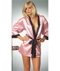Pink Satin Robe With Black Trim