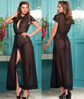 Long Mesh Robe with Lace Sleeves