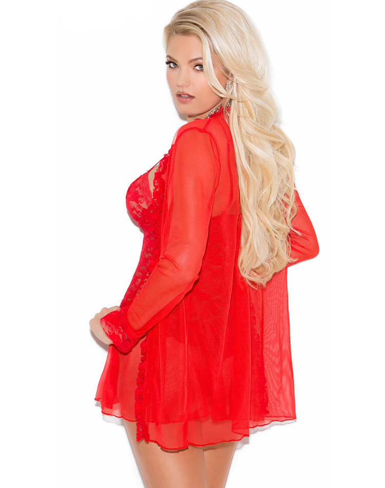 Lace Chemise and Robe Red