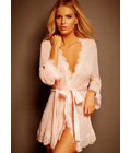Lace Trim Sheer Robe Pink