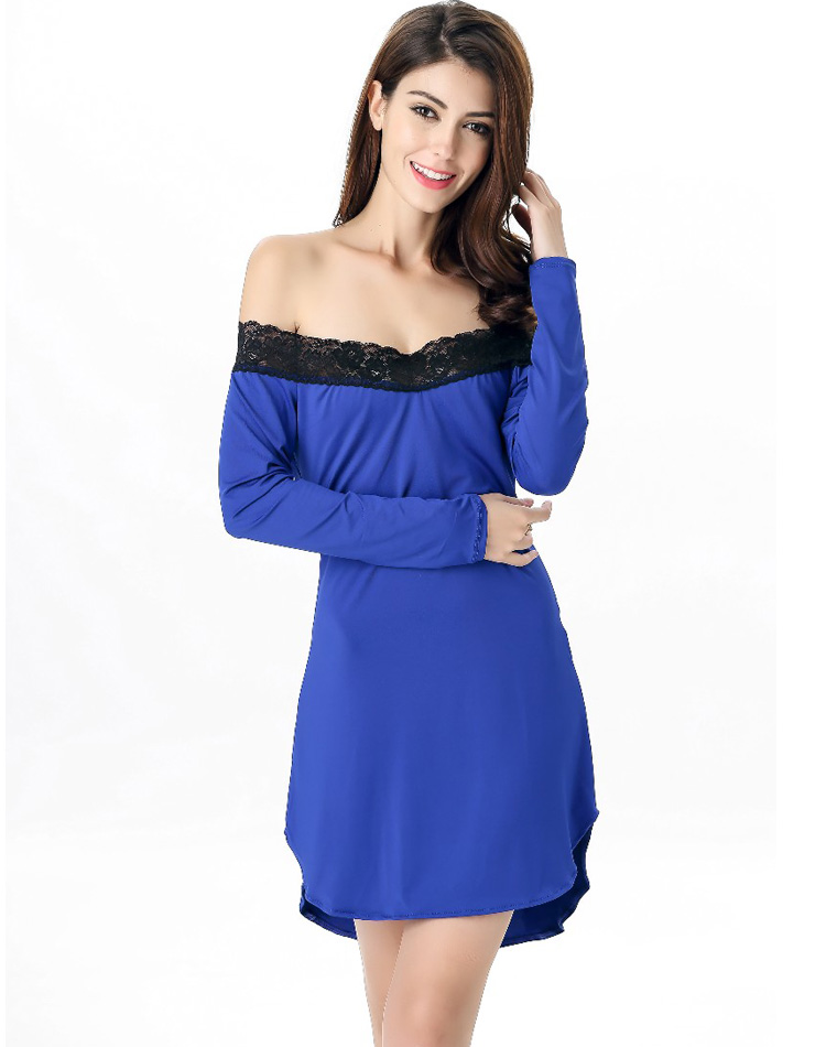 Lace Trimmed Sleep Tunic Blue
