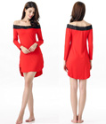 Lace Trimmed Sleep Tunic Red