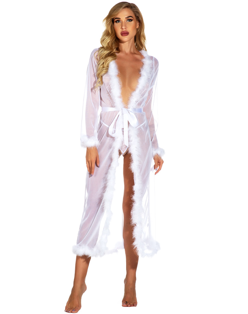 Sexy Fur Trim Long Robe White