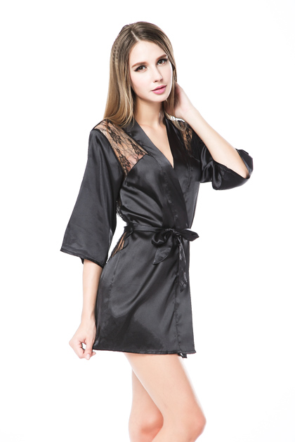 Charmeuse Robe Lace Detail and G-String Black