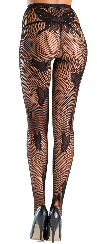 Crotchless Butterfly Fishnet Tights