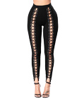 High-rise Lace-up Front Bodycon Leggings