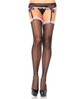Ruffle-Trimmed Fishnet With Garter Belt