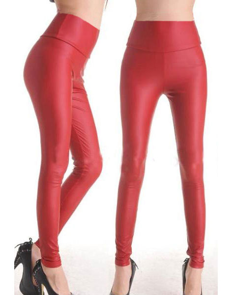 Faux Leather Stretch Panty Red
