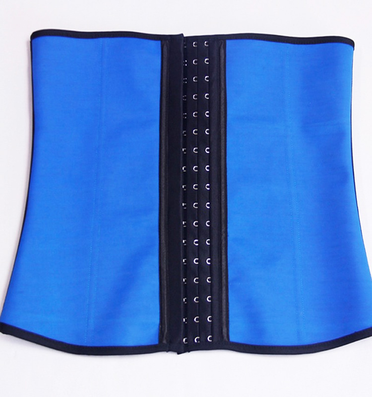 Latex Rubber Steel Boned Underbust Corset Blue