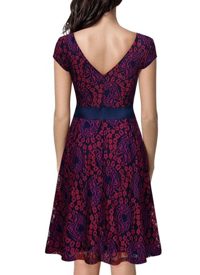 Vintage Lace Contrast Bow Cocktail Dress RedBlue