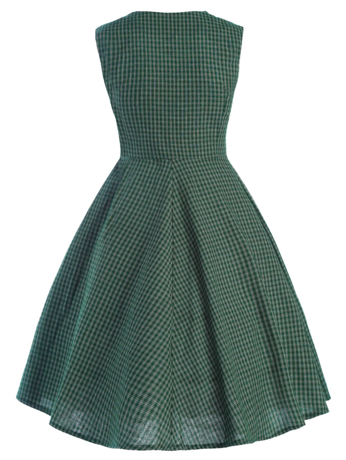 Retro Vintage Classic A-Line Dress Green