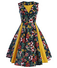 Retro Vintage Classic A-Line Dress Yellow