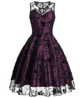 Illusion Lace Prom Dress Purple