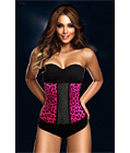 Latex Rubber Steel Boned Corset Rose Leopard
