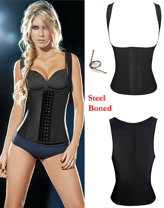 Latex Rubbber Steel Boned Body Shaper Black