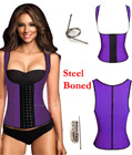 Latex Rubbber Steel Boned Body Shaper Purple