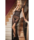 Mesh and Lace V Neck Gown Black