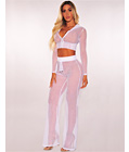 Mesh Hoodie Cover Up Two Piece Set White
