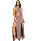 High Slits Wrap Criss Cross Gown Apricot